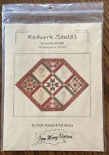 Sew Many Visions REDWORK SANTAS Wall Hanging Quilting Pattern