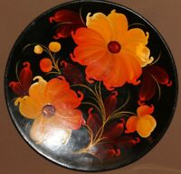 Vintage Soviet Russian hand painted flowers tole wood plate