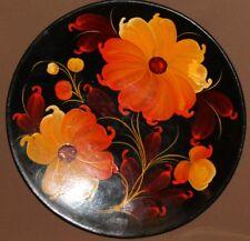 Vintage Soviet Russian hand painted flowers tole wood plate