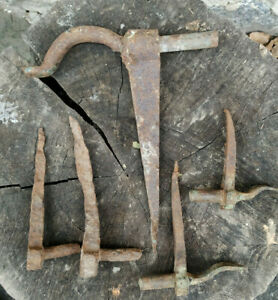 Lot of 5 Antique Primitive forged metal door hinges