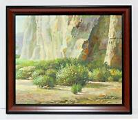 Desert Cliff Brush Landscape  20 x 24 Oil Painting on Canvas w/ Custom Frame