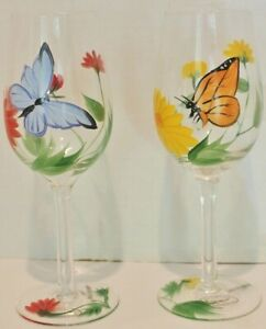 """VTG Hand Painted Floral Crystal Wine Glass w/ Stem-Butterfly&Flowers-8.25"""" -Mint"""