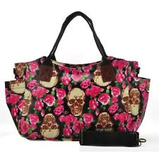 NEW QUALITY OILCLOTH skeleton roses PATTERN LARGE CROSS BODY HANDBAG BNWT