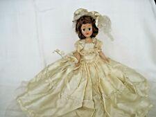 """Vintage Hard Plastic Bride Doll~7 1/2""""~ sleepy eyes~original gown~unmarked"""