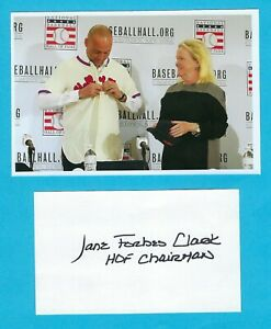 Jane Forbes Clark Autographed 3x5 Index Card Baseball Hall of Fame Chairman