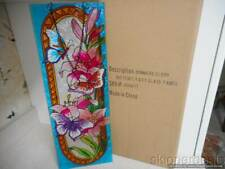 """Butterfly Floral Flowers Art Hanging Panel Stained Glass 17.5"""" X 6.5"""" New"""
