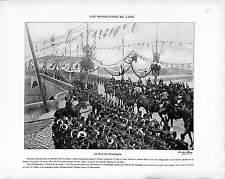 PONT DE COMPIEGNE  VISITE TSAR NICHOLAS II RUSSIE RUSSIA ANTIQUE PRINT 1901
