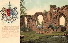 Chester Uk St Johns Priory Arches Postcard 1910s Crest & Historical Description