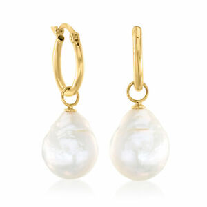 Ruby and Freshwater Pearl 14K Yellow Gold Filled Dangle Earrings