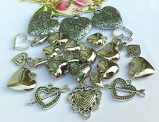 20 x, Puff Heart, Open & Love Hearts Charms *New Mix! *