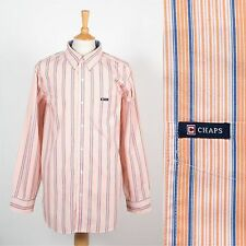 Da Uomo Ralph Lauren Chaps camicia a righe arancione Colletto con Bottoni Casual XL