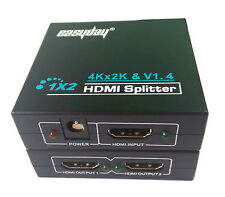 Easyday HDMI Splitter 1X2 2 Port Hub Repeater Amplifier 1080p 1 in 2 out V1.4 3D