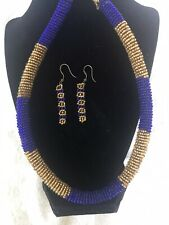 From Tanzania - Purple & Gold Maasai Hand Beaded Necklace & Matching Earrings
