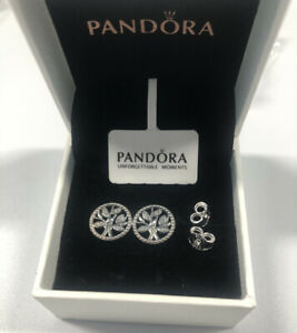 ALE S925 Genuine Silver Pandora Sparkling Family Tree Stud Earrings With Box