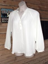 SPENSE SHEER IVORY TOP SZ L Y NECK W/BUTTONS SO PRETTY!! Free shipping!!