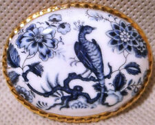 Aynsley Fine Bone China Blue and White Bird Design Oval Shaped Brooch