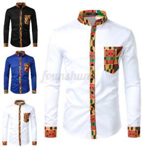 UK Men's Printing African Tribal Shirt Dashiki Hippy Tops Blouse Party Dress Top