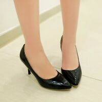 Womens Synthetic High Stilettos Heels Slip-on Solid Formal Shoes Pumps Plus Size