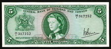 TRINIDAD AND TOBAGO 5 DOLLARS 1964 UNC P-27c QEII VERY VERY LITTLE PALE