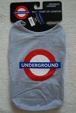 "BNWT FABDOG London UNDERGROUND Dog Tank Heather Grey T-Shirt size S 12"" 10-16Lbs"