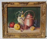 Vintage Still Life oil painting on canvas, Fruits, Signed Jean Daniloff, Framed