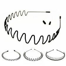 Men Women Black Metal Spiral Wave Headband Hair Band Hoop with Teeth Accessories