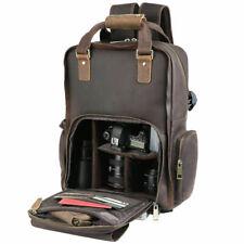 """Retro Men Real Leather 16"""" Backpack Camera Bag For Canon Nikon DSLR Shoulder Bag"""