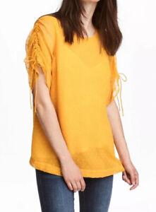H&M MAMA MATERNITY Mustard YELLOW LAYERED Chiffon Top Size S, UK size 10 12