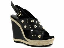 Rebecca Minkoff Women's Kimiko Stud Wedge Sandals Black Tumbled Leather 7.5 M