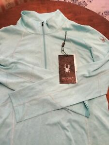 Spyder Women's Pale Tourquoise 1/4 Zip Pullover Active Performance Size L NWT