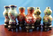 Six(6)-3 PAIR! Vintage Tiny Miniature Cloisonne Vases, 12:1 Doll house size