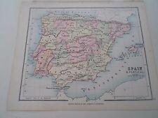 Antico Mappa 1890 SPAGNA E PORTOGALLO-Atlante di Philips per i principianti § 17