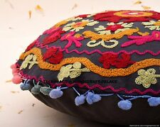 """Round Cushion Covers 16"""" Indian Heavy Wool Embroidery Zip Back Suzani Black"""