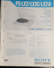 Sony PS-LX2 Giradiscos manual de taller de reparación de servicio (copia Original)