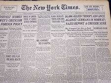 1940 APR 21 NEW YORK TIMES NEWSPAPER - 50000 ALLIED TROOPS ADVANCE - NT 48