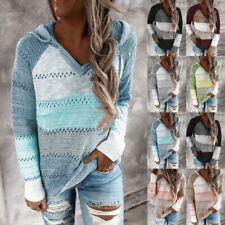 Women Patchwork V-Neck Long Sleeve Hooded Sweater Jumper Sweatshirt Blouse Top F