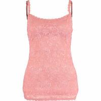 COSABELLA Women's SASSIE Lace Long Camisole Top, Mauve Pink, size M