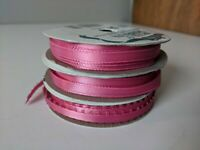 "Lot Of 3 Vintage Offray Pink Rose Ribbon Trim Border 2- 1/4"" 10yrds 1- 3/16"" 6yd"