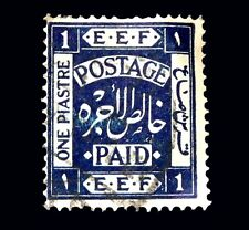 PALESTINE 1918 SG10 EEF Postage Paid 1 Piastre Deep Blue  Surcharge Stamp /Used