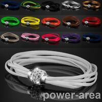 Shamballa Leder Armband Damen Armkette Magnetverschluss