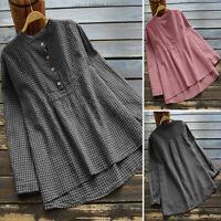 Women Plaid Check Casual Asymmetrical Shirt Tops Loose Oversize Blouse Plus Size