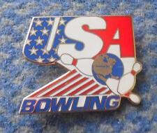 USA BOWLING FEDERATION UNION 1980's ENAMEL PIN BADGE