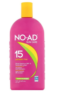 NO-AD SPF 15 Sunscreen Lotion 16oz Paraben Free Exp 3/2022, Free Shipping!