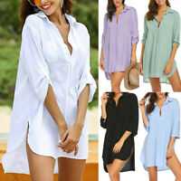Women Chiffon Cover Up Shirt Long Blouse Top Loose Casual Solid Summer Beachwear