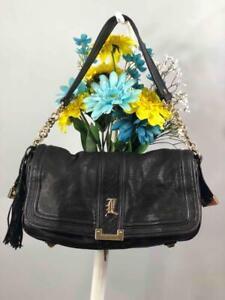 L.A.M.B by GWEN STEFANI Black Leather Front Flap Tassel Shoulder Bag