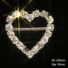 10 HEART (HORIZONTAL BAR) DIAMANTE CRYSTAL RHINESTONE RIBBON SLIDER BUCKLES -2CM