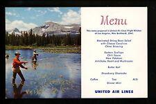 Menu postcard United Air Lines Western Lake FlyFishing Los Angeles California CA