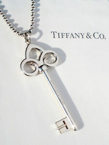 "Tiffany & Co Sterling Silver LARGE 2.5"" Fleur De Lis Key Bead 34 Inch Necklace"