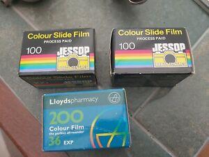 3 x  Film  EXPIRED 2 x Jessops Colour Slide Film & Lloyd's 200 colour film