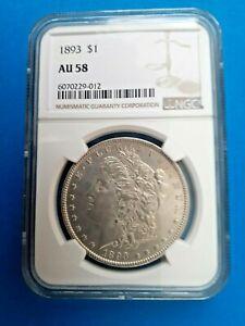 1893 $1 Morgan Silver Dollar VERY TOUGH DATE NGC AU58